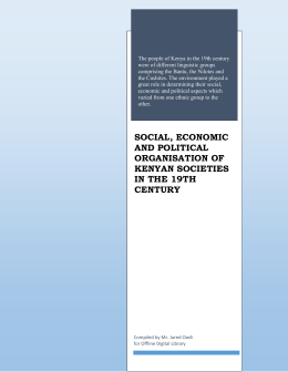 social, economic and political organisation of kenyan societies in the