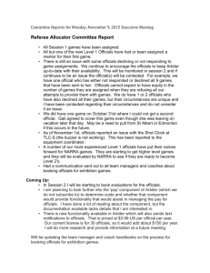 Referee Allocator Committee Report