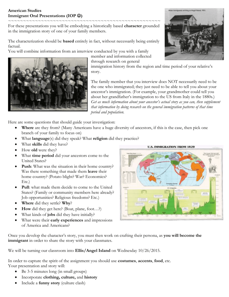 American Studies Immigrant Oral Presentations (IOP J