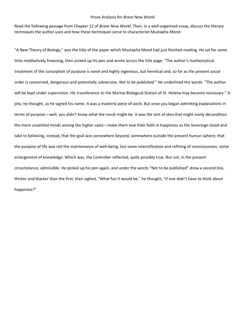 Persuasive Essays For High School  Fifth Business Essays also Business Essay Writing Prose Analysis For Brave New World Read The Following Passage Essay Learning English