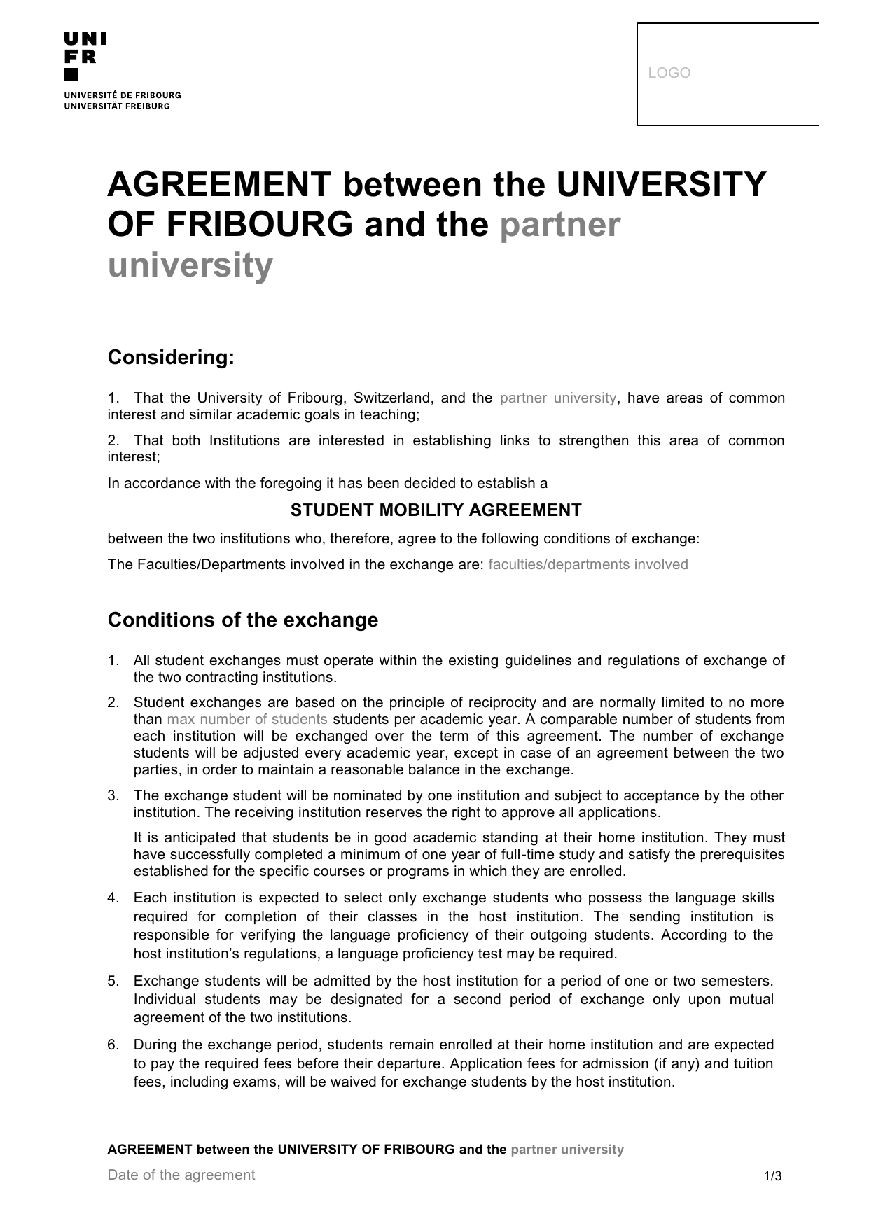 Agreement Between The University Of Fribourg And