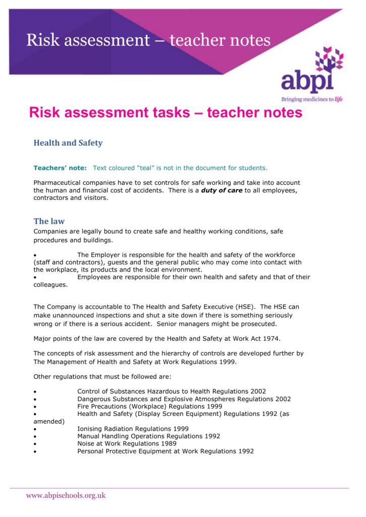 Risk assessment tasks teacher notes abpi pronofoot35fo Images