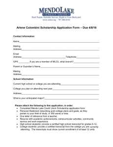 Arlene Colombini Scholarship Application Form – Due 4/8/16