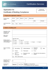 Application Form - Certificate of Building Compliance