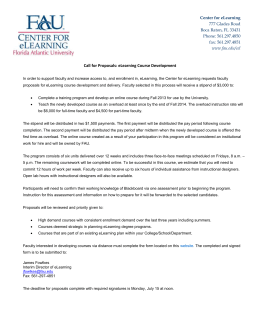 Call for eLearning Proposals