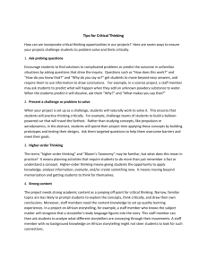 Critical Thinking Tipsheet - OST Project – WordPress.com