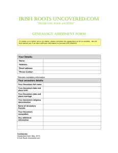Genealogy Assessment Form - Discover your Irish Roots