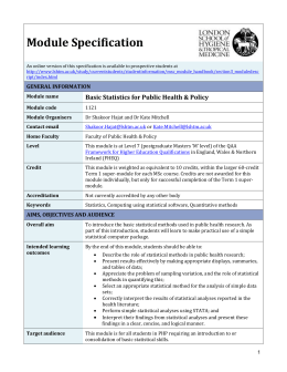 1121 Basic Statistics for Public Health & Policy Module Specification