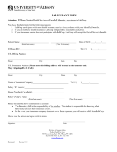 Lab Insurance Form - University at Albany