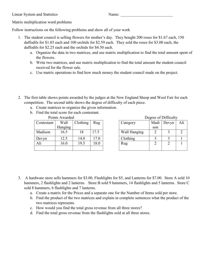 Matrix Multiplication Word Problems