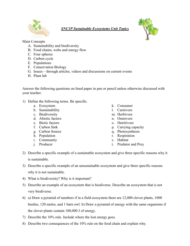 worksheet Ecosystems Worksheet all grade worksheets ecosystem worksheet answers title snc1d sustainable ecosystems unit review in category