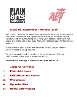 Issue 61 Contents - Plain Arts Salisbury
