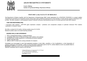 POST-DOC at the FACULTY OF BIOLOGY