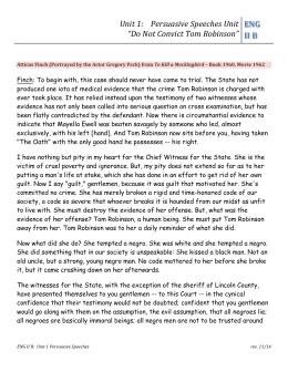 Atticus finch persuasive essay