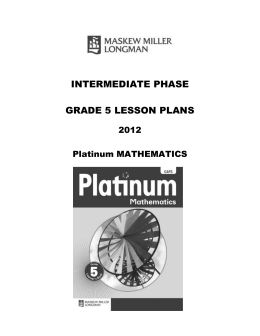 term 2: platinum lesson plans – grade 5