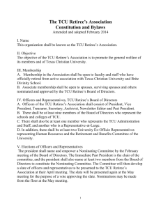 The TCU Retiree`s Association Constitution and Bylaws Amended