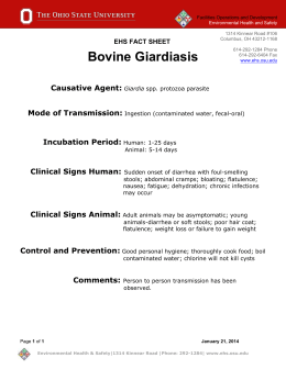 Bovine Giardiasis Fact Sheet - Environmental Health & Safety
