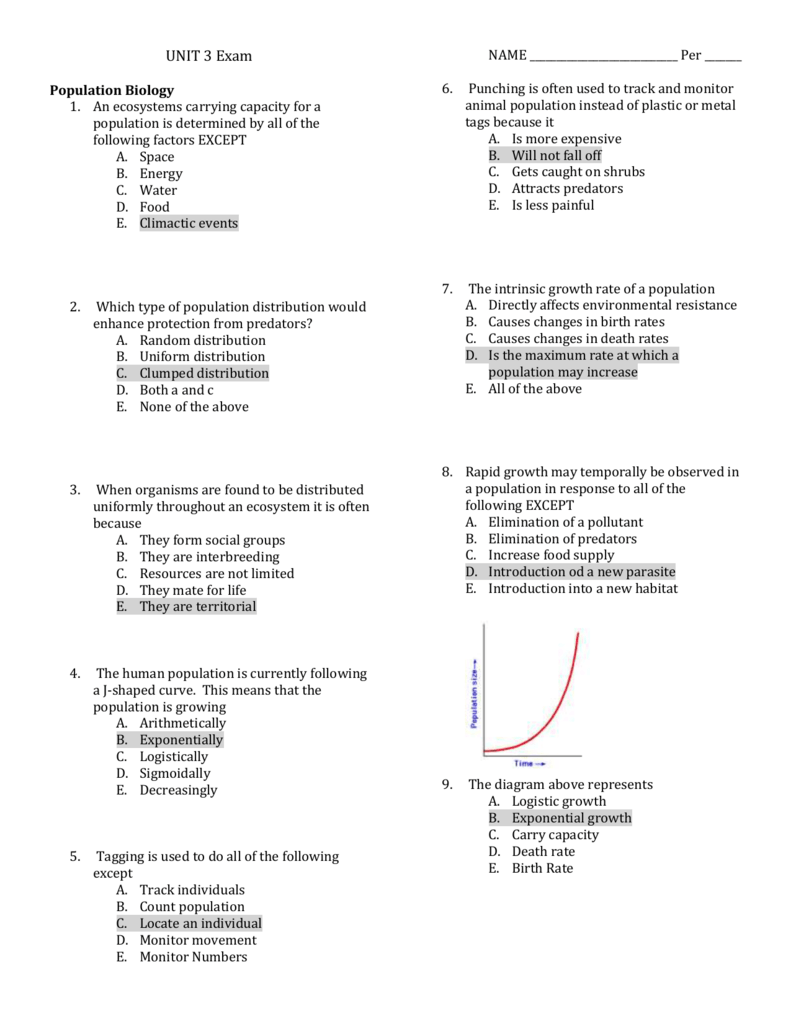 UNIT 3 Exam Population Biology An ecosystems carrying capacity