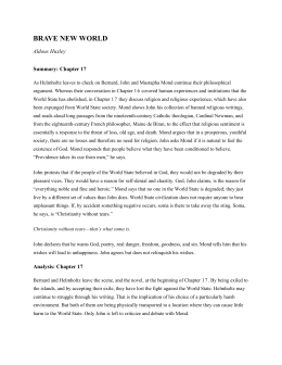 Brave new world chapter notes - Essay Sample