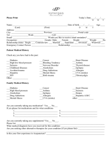 Acupuncture Intake Form