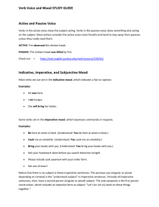 Verb Voice and Mood STUDY GUIDE Active and Passive Voice