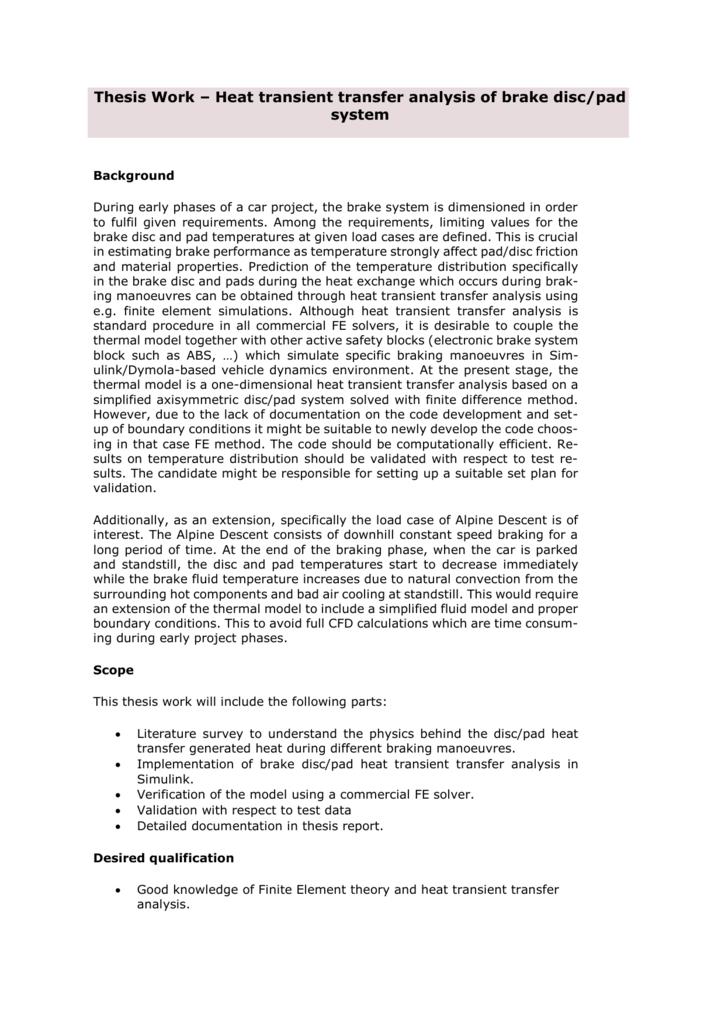 Heat transient transfer analysis of brake disc/pad system