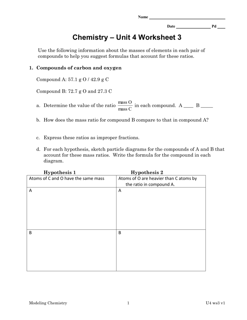 worksheet Chemistry Unit 4 Worksheet 3 template