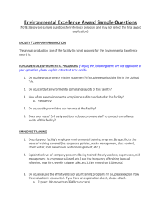 Environmental Excellence Award Sample Questions