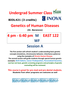 BIOL431:Genetics of human diseases 2014