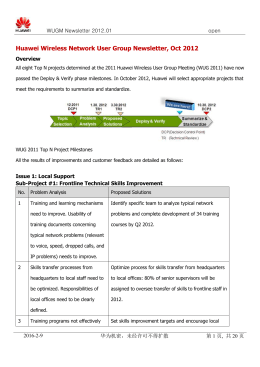 Huawei Wireless Network User Group Newsletter, Oct 2012