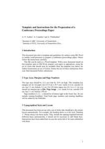 Template and Instructions for the Preparation of a Conference