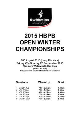 2015 HBPB Winter Championships Qualifying Times