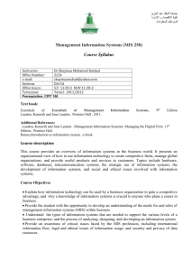 Management Information Systems (MIS 250)