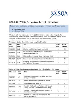 G9LL 22 SVQ in Agriculture Level 2 – Structure