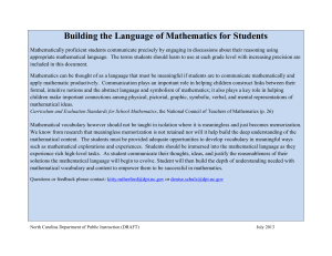 Building the Language of Mathematics for Students