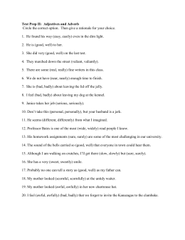 Worksheet #1 on Chapters 11-12: Adjectives and Adverb
