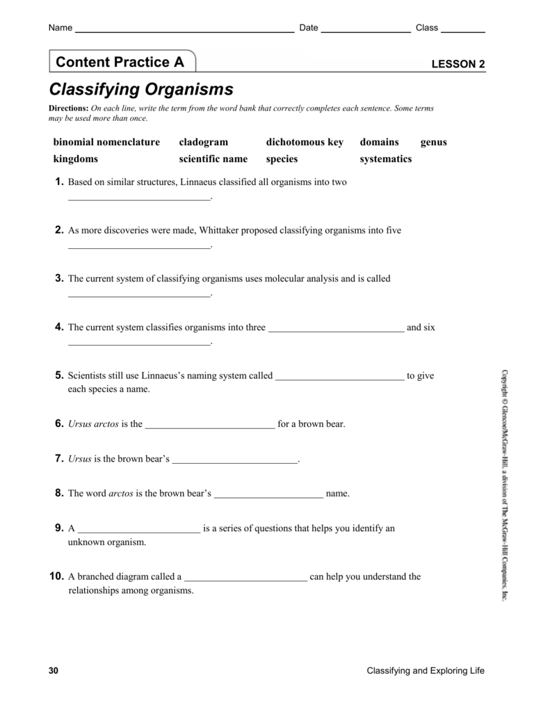 worksheet Classifying Organisms Worksheet ch 1 lesson 2 content practice