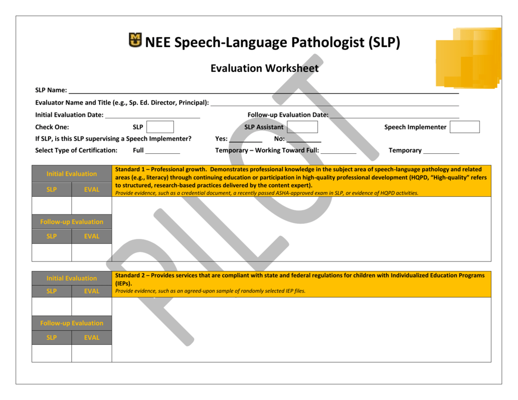 Evaluation Worksheet Nee