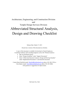 Abbreviated Structural Analysis, Design and Drawing Checklist
