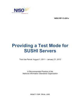 NISO RP-13-201x, Providing a Test Mode for SUSHI Servers