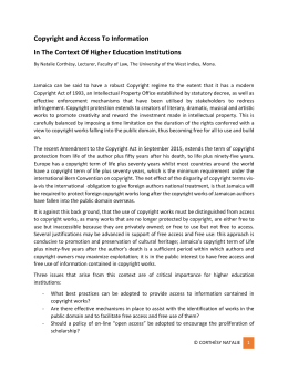 Copyright and Access to Information in the context of higher