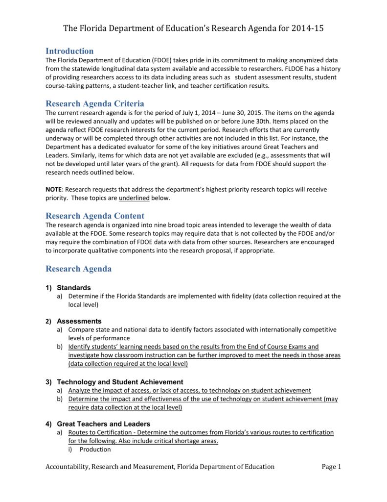 FDOE Research Agenda 2014-15