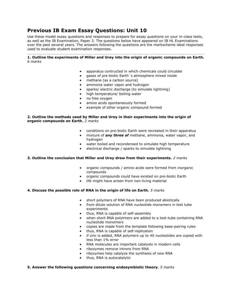 previous ib exam essay questions unit course