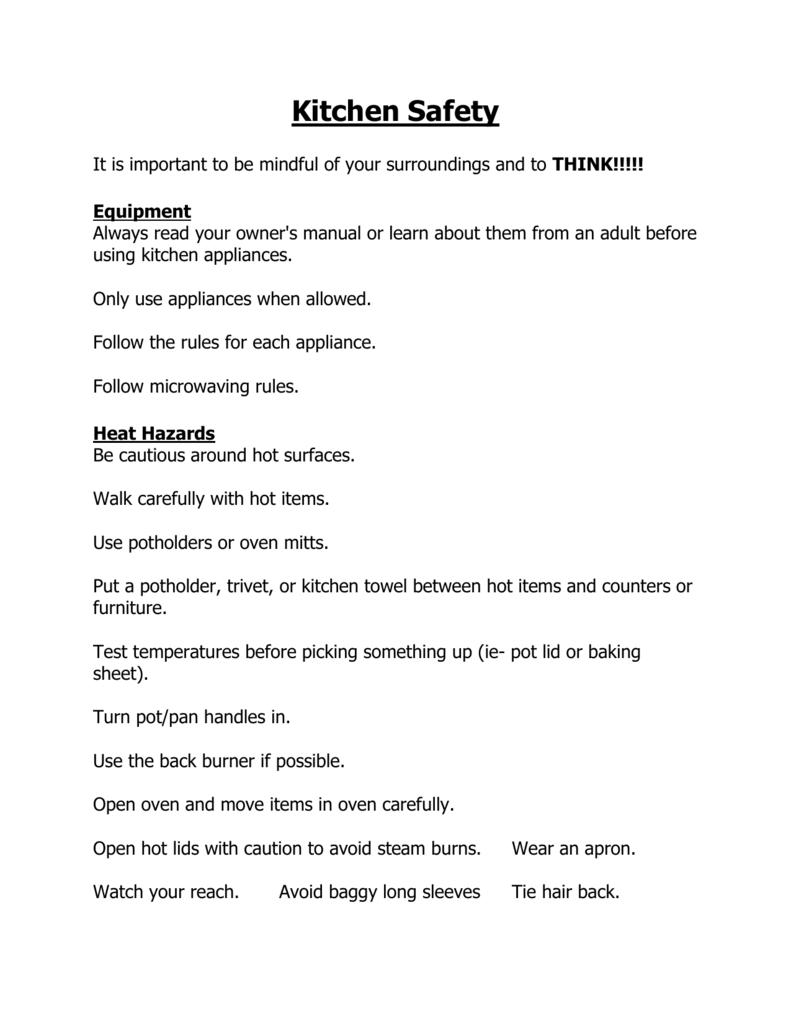 Kitchen Safety Notes