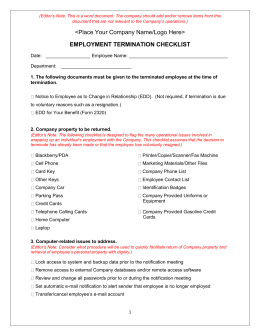 Employment Termination Checklist
