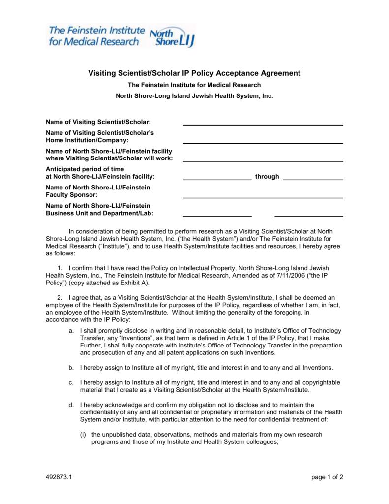 Visiting scientist agreement the feinstein institute for medical platinumwayz