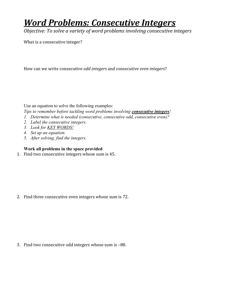 Consecutive Integer Worksheet jannatulduniya – Consecutive Integers Word Problems Worksheet