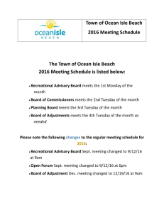 2016 Town of Ocean Isle Beach Meeting Schedule