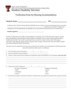 Verification Form for Housing Accommodations