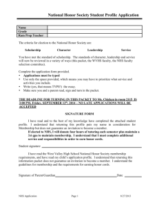 National Honor Society Application